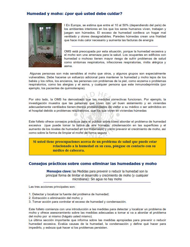 OMS;CALIDAD AMBIENTAL DEL AIRE INTERIOR;  HUMEDAD Y MOHO SOLO ESPAÑOL_003